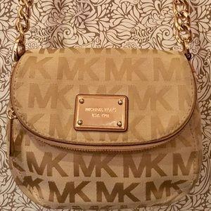 Michael kors tan brown gold logo crossbody bag